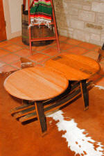 Wine Barrel Tables - Wine Barrel Coffee Table with Shelf
