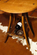 Wine Barrel Tables - Wine Barrel Bistro Table with Shelf