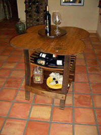 Wine Barrel Tables - Wine Barrel 4-Top Table with Lazy Susan