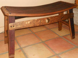 Wine Barrel Accessories - Wine Barrel Stave Harvest Bench